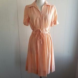 1970s Leslie Fay Peach Poly/Cotton Dress